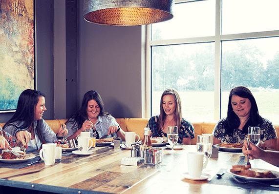group breakfast at Forklift & Palate restaurant