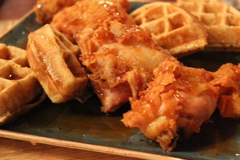 chicken and waffles at Forklift & Palate